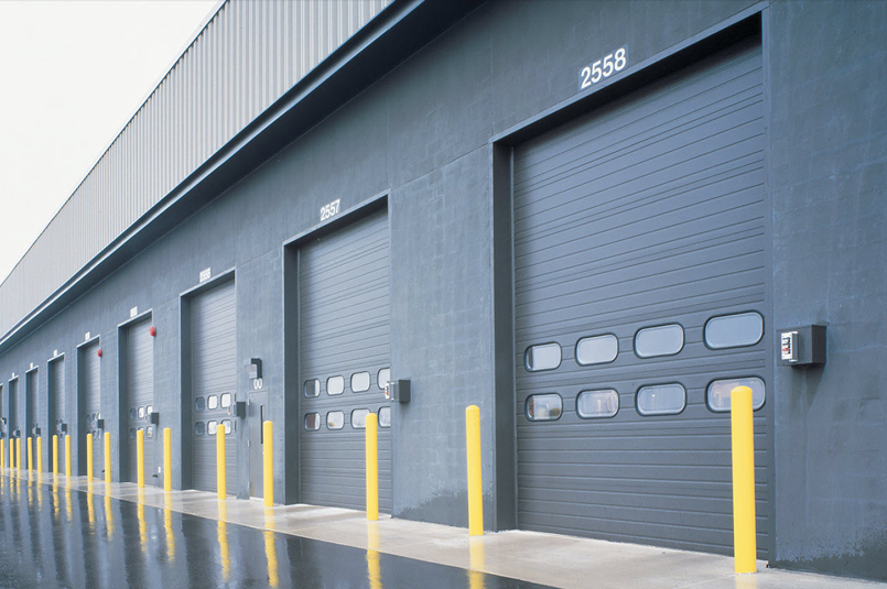sectional doors used on service building