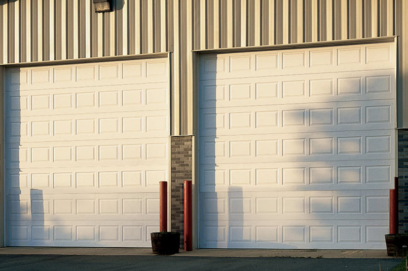 insulated sectional doors used on building