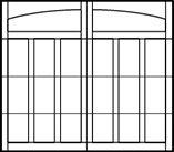 garage door arched top 4 rows 6 columns on bottom 3 rows