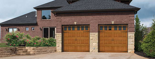 Fiberglass garage doors - faux wood