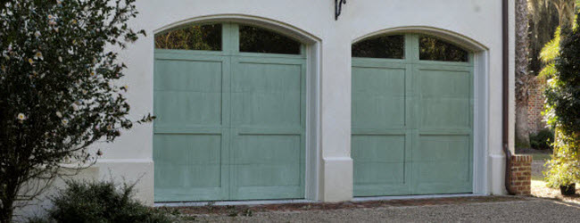 light green garage doors with windows
