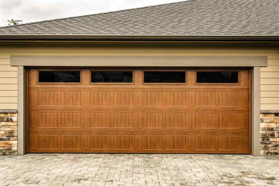 insulated garage door with wood stain