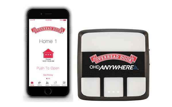 Overhead Door® OHD Anywhere® app example and opener