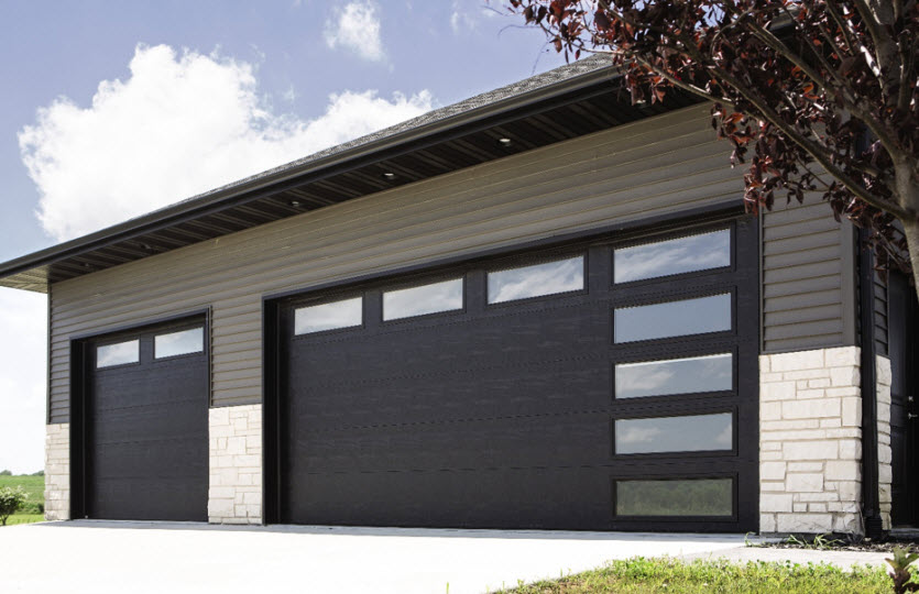 modern garage door with brown steel