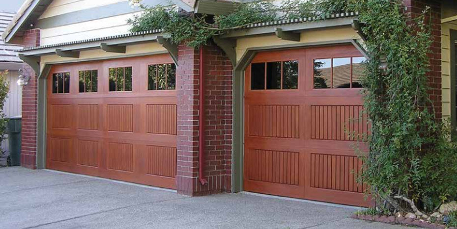 faux wooden garage door