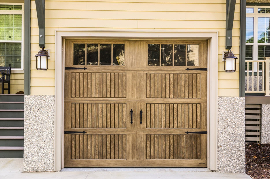 faux wooden garage doors