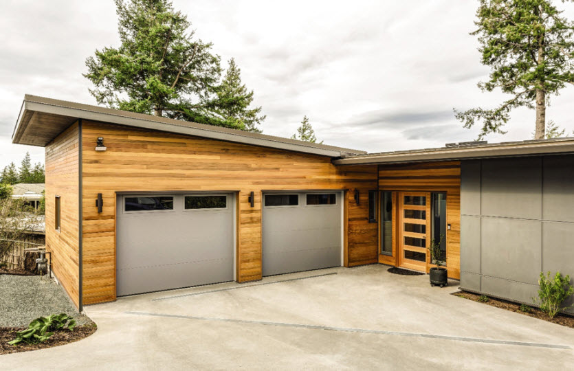 modern garage door with gray steel