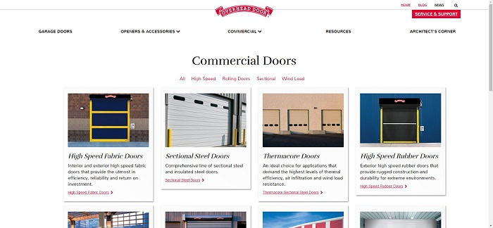 overhead door website commerical products page