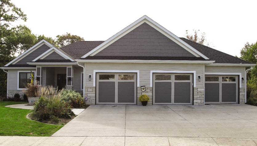 modern garage door with bronze courtyard style
