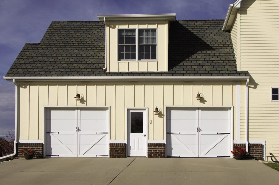 painted faux wood garage door