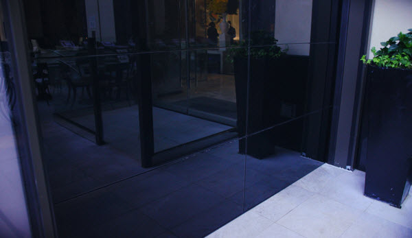 glass doors on hotel