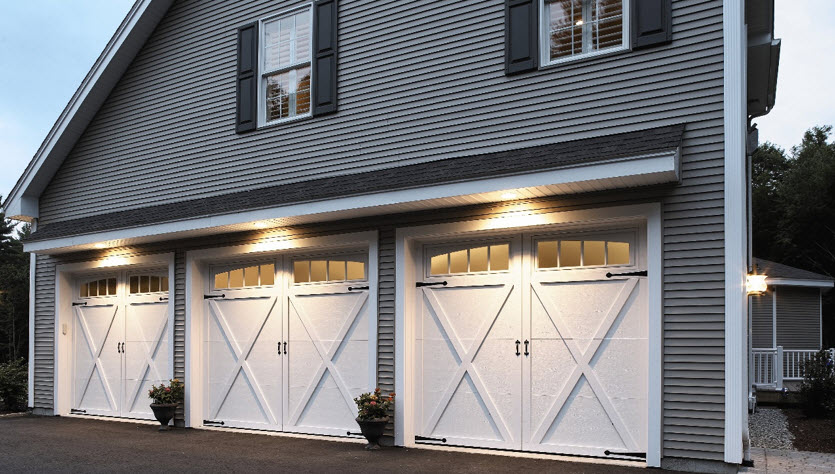 modern garage door with white courtyard style