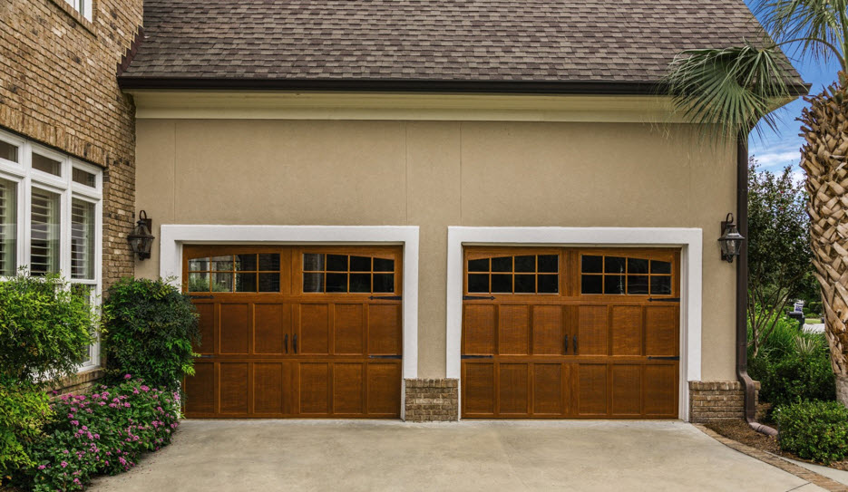 wood grain garage door
