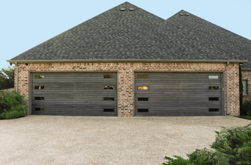 modern garage door with wood slats
